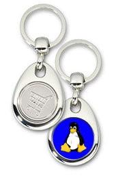 Schlüsselanhänger - Metall - Tux blau - Einkaufswagen-Chip
