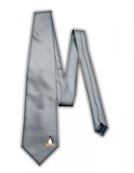 Linux Krawatte - Pinguin Tux - grau