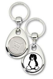 Schlüsselanhänger - Metall - Tux Guevara - Einkaufswagen-Chip