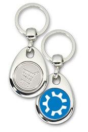 Schlüsselanhänger - Metall - kubuntu Logo - Einkaufswagen-Chip