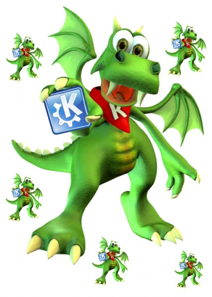 Maxi-Sticker - KDE Konqui A4