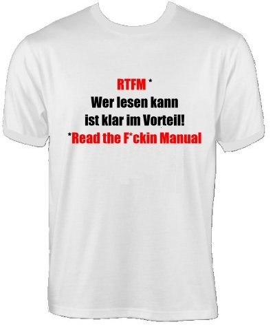 T-Shirt - RTFM - Wer lesen kann, ist klar im Vorteil