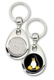 Schlüsselanhänger - Metall - Tux schwarz - Einkaufswagen-Chip