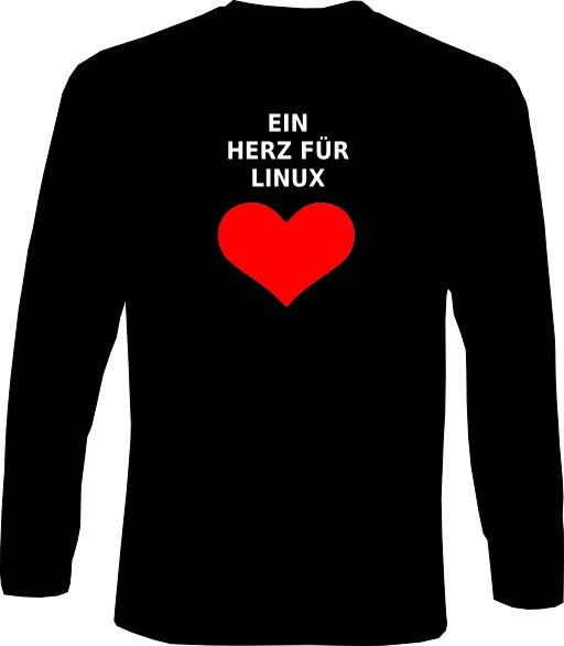 Langarm-Shirt - Ein Herz für Linux