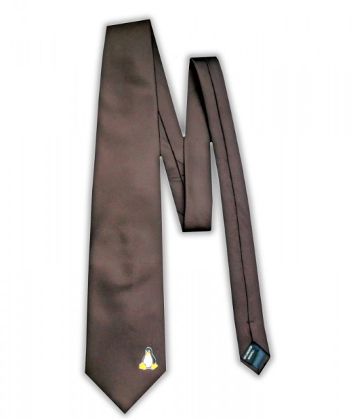 Linux Krawatte - Pinguin Tux - braun