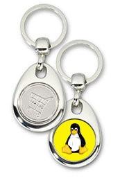 Schlüsselanhänger - Metall - Tux gelb - Einkaufswagen-Chip